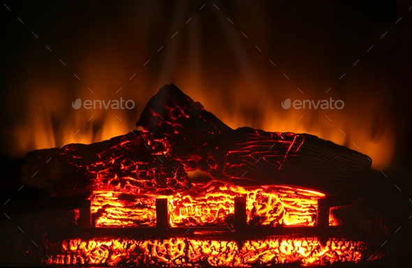 Electric fireplace - Stock Photo - Images