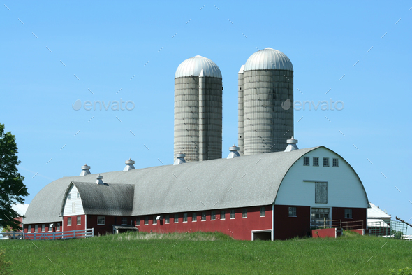 Barn and silos - Stock Photo - Images