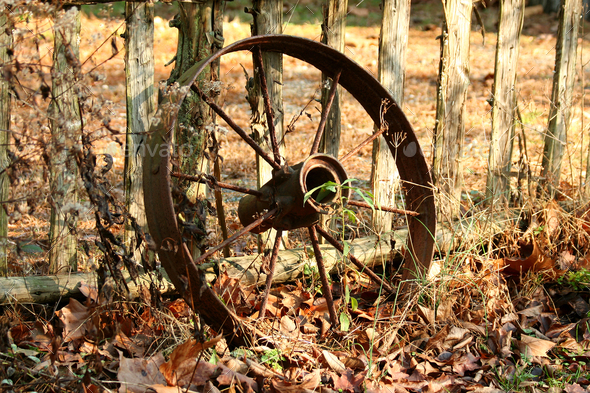 Old wagon wheel - Stock Photo - Images