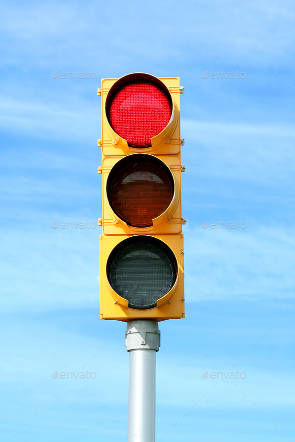 Red traffic signal light - Stock Photo - Images