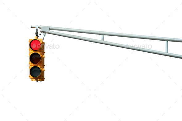 Isolated Red traffic signal light - Stock Photo - Images