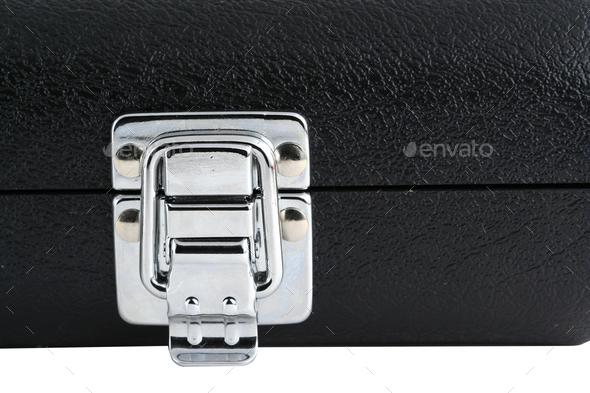 Black flute case silver latch - Stock Photo - Images
