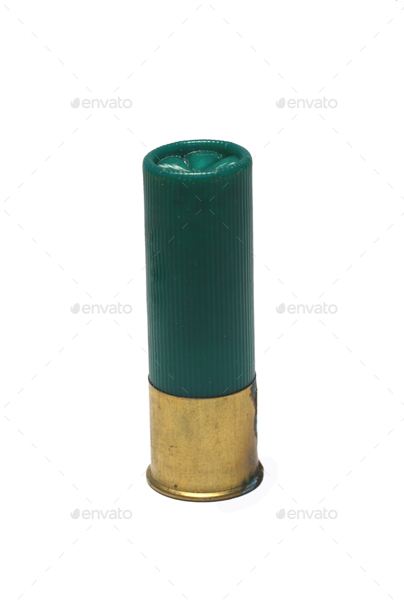 Isolaged 12 gage green shotgun shell - Stock Photo - Images