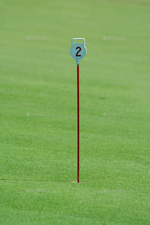 Practice putting green hole number two - Stock Photo - Images