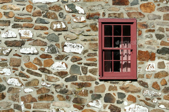 Old stone house with window - Stock Photo - Images