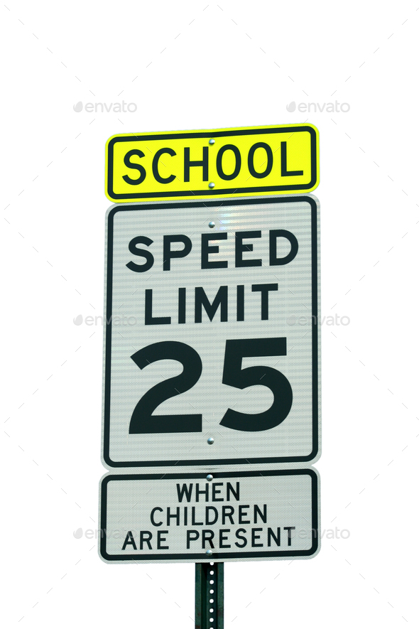 School and 25 mph sign - Stock Photo - Images