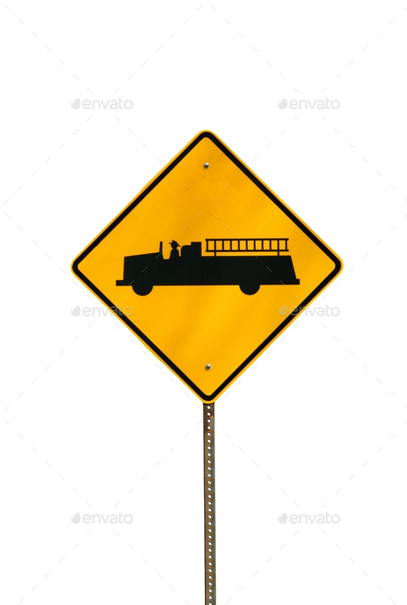 Isolated fire truck sign - Stock Photo - Images
