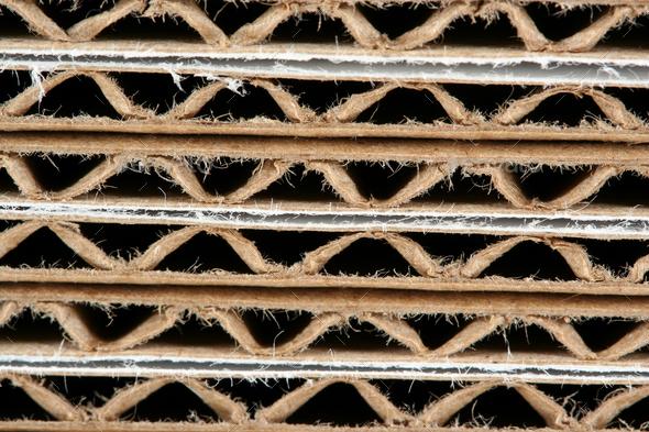 Stacked corrugated cardboard boxes macro - Stock Photo - Images