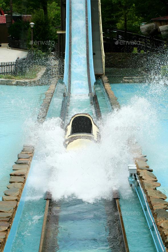 Log flume amusement park ride - Stock Photo - Images