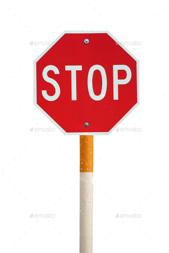 Isolated stop sign with cigarette post - Stock Photo - Images