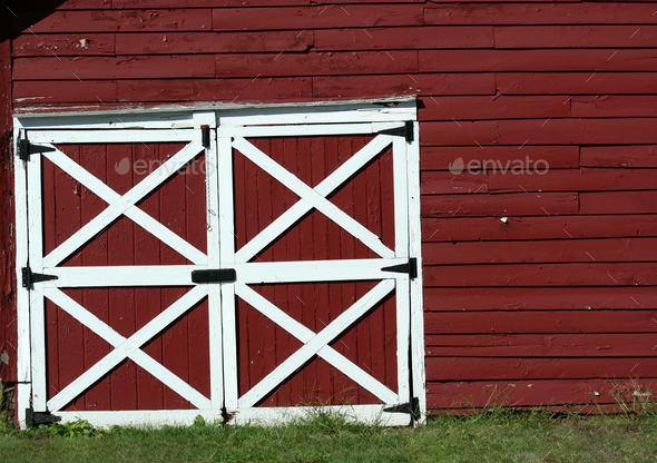 Old red bard doors - Stock Photo - Images