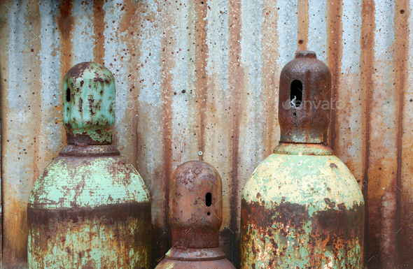 Rusty acetylene and oxygen tanks - Stock Photo - Images