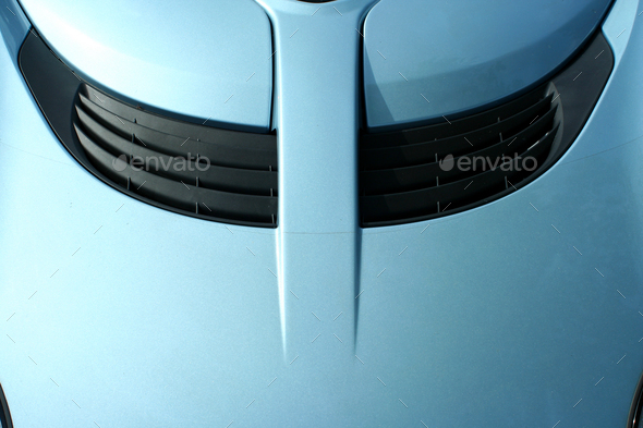 Blue sports car hood with scoop - Stock Photo - Images