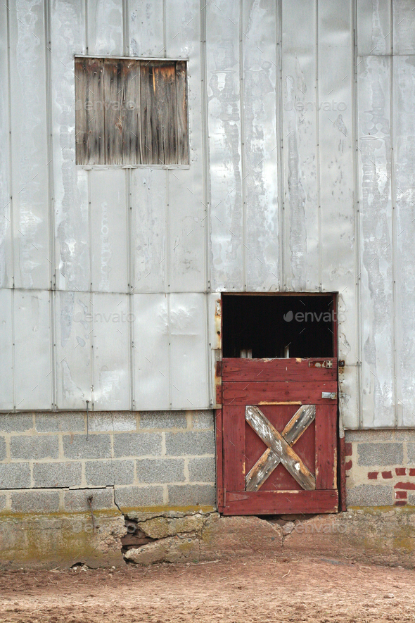 Old barn door and window - Stock Photo - Images