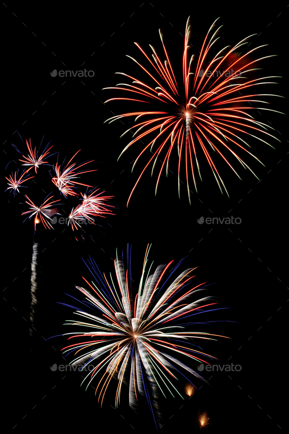Colorful fireworks against a black sky - Stock Photo - Images