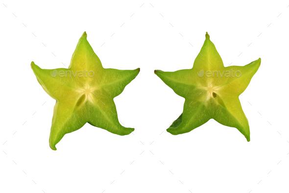 Isolated sliced Star fruit on white background - Stock Photo - Images