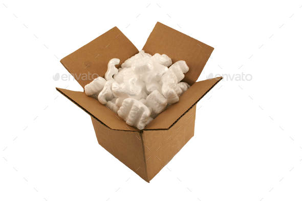 Isolated open cardboard box with packing peanuts - Stock Photo - Images