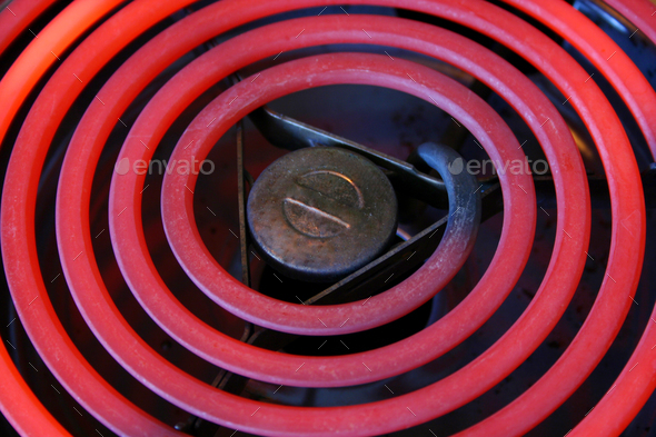 Red Hot Electric stove coils - Stock Photo - Images