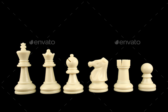 White Chess Pieces on Black Background - Stock Photo - Images