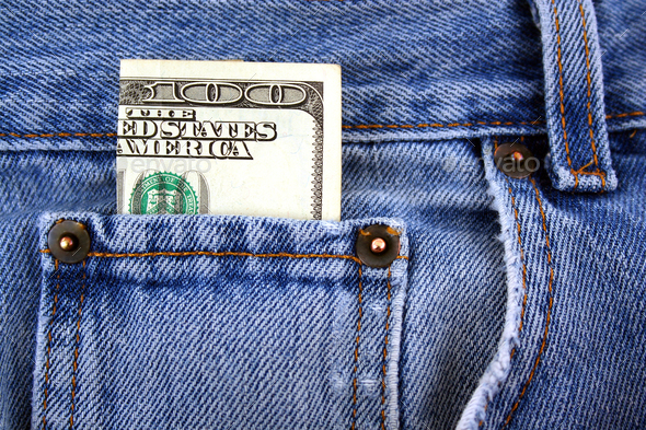 One hundred dollar bill in jeans pocket - Stock Photo - Images