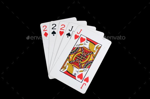 Isolated full house poker hand - Stock Photo - Images