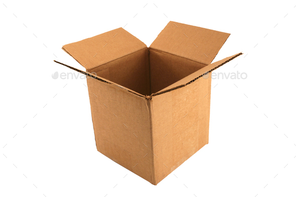 Isolated Empty open cardboard box - Stock Photo - Images