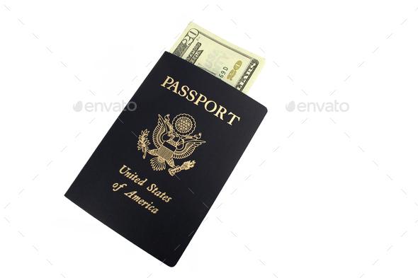 US passport and Twenty Dollar bills - Stock Photo - Images