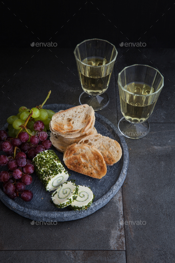 Cream cheese and baguette - Stock Photo - Images