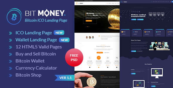 Image of Bit Money - Bitcoin Cryptocurrency ICO Landing Page HTML Template