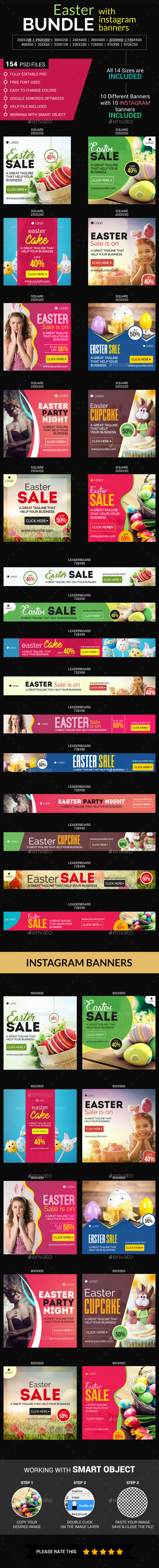 Easter Banners And Instagram Bundle - Banners & Ads Web Elements