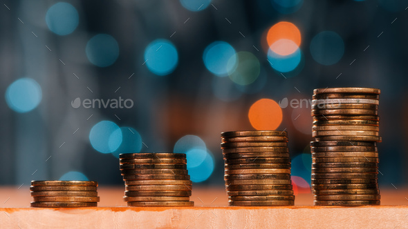 Money savings concept with coin stack - Stock Photo - Images