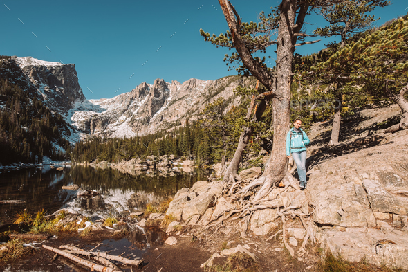 Tourist near Dream Lake in Colorado - Stock Photo - Images