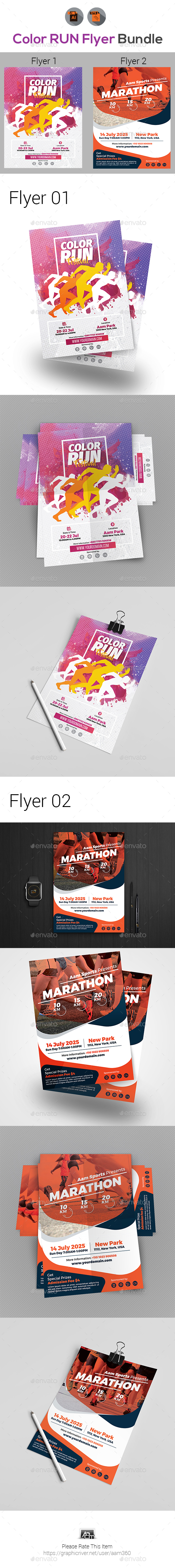 Color Run Event Flyers Bundle - Sports Events