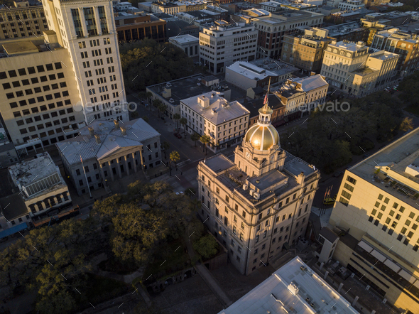 Aerial top down view of city hall in Savannah, Georgia, USA. - Stock Photo - Images