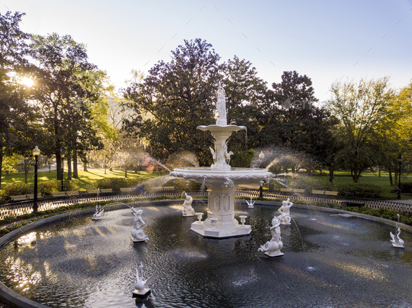 Fountain in famous Forsyth Park in Savannah, Georgia at dawn. - Stock Photo - Images