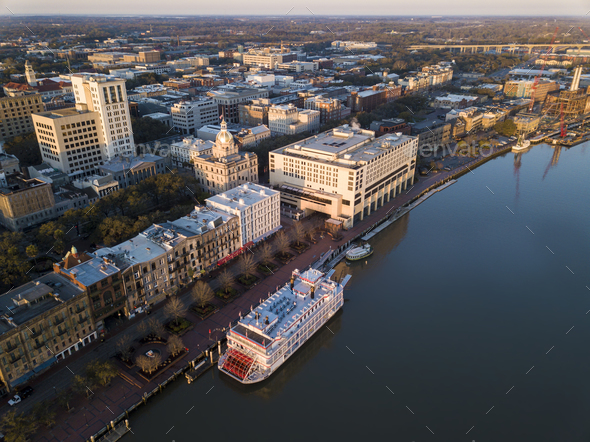 Aerial view of historic River Street and downtown Savannah, Geor - Stock Photo - Images