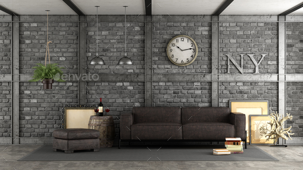 Livng room in a loft - Stock Photo - Images