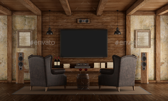 Home cinema in rustic style - Stock Photo - Images