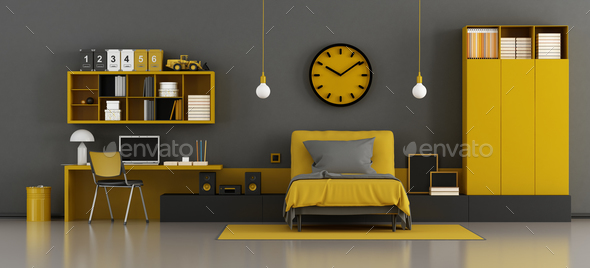 Black and yellow kids room - Stock Photo - Images