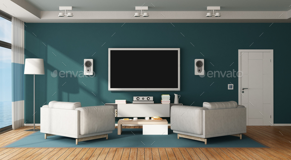 Home cinema room - Stock Photo - Images