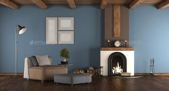Blue and brown room with fireplace - Stock Photo - Images