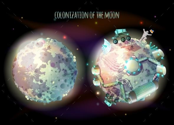Colonization of Moon Vector Concept Illustration - Conceptual Vectors
