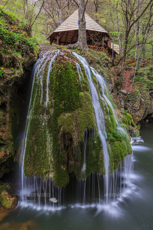 Bigar Cascade Falls in Beusnita Gorges National Park, Romania - Stock Photo - Images