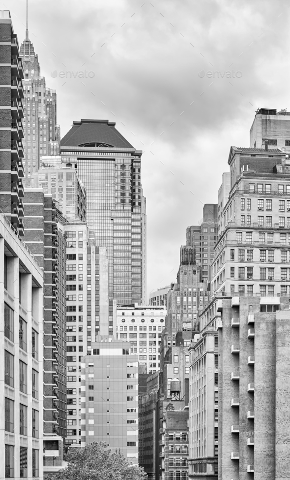 Black and white picture of New York buildings, USA - Stock Photo - Images