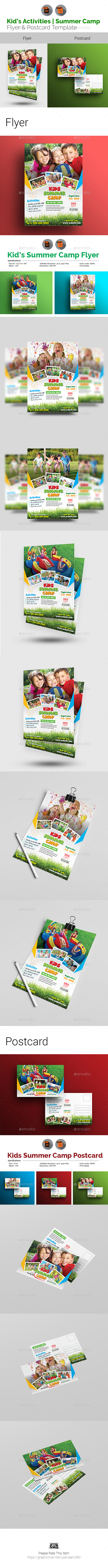 Kids Activities | Summer Camp Flyer & Postcard Bundle - Events Flyers