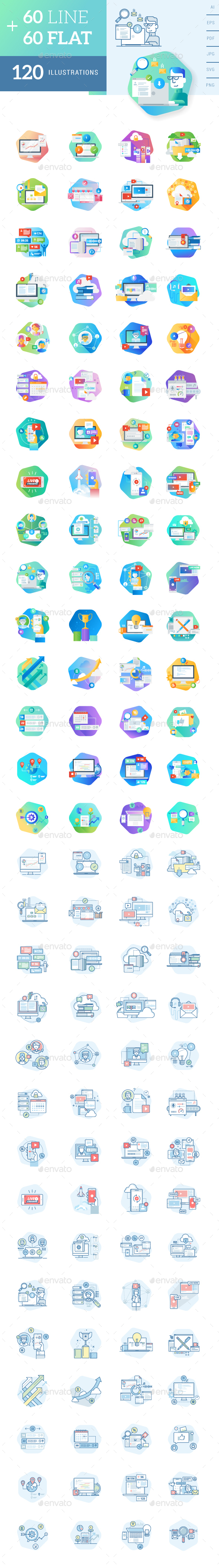 Flat and Line Concept Icons - Icons