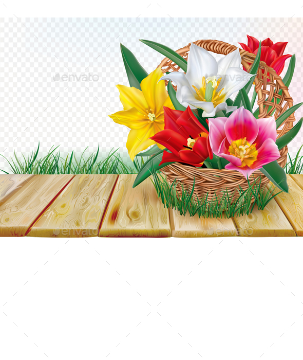 Basket with Tulips Bouquet - Flowers & Plants Nature