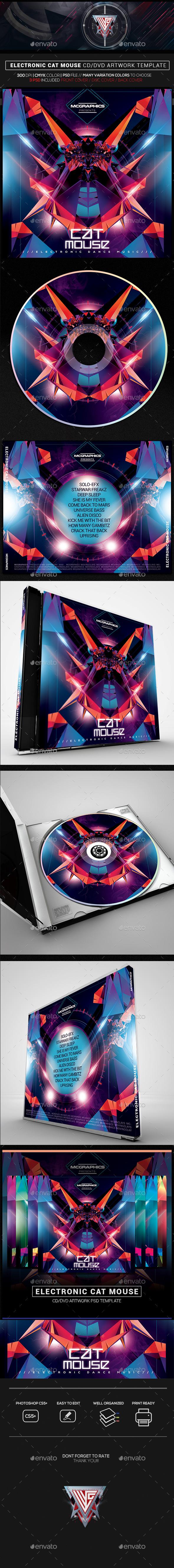Electronic Cat Mouse CD/DVD Template - CD & DVD Artwork Print Templates