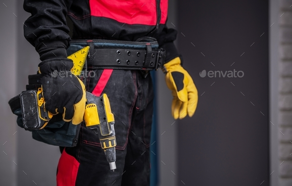 Worker with Power Tool - Stock Photo - Images
