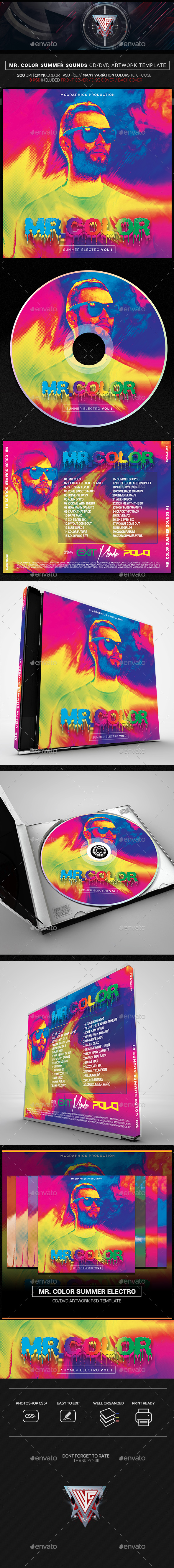 Mr. Color Summer Electro CD/DVD Template - CD & DVD Artwork Print Templates